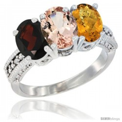 14K White Gold Natural Garnet, Morganite & Whisky Quartz Ring 3-Stone 7x5 mm Oval Diamond Accent