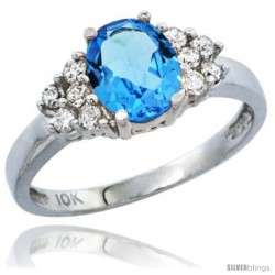 10K White Gold Natural Swiss Blue Topaz Ring Oval 8x6 Stone Diamond Accent