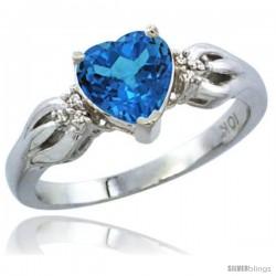 10K White Gold Natural Swiss Blue Topaz Ring Heart-shape 7x7 Stone Diamond Accent