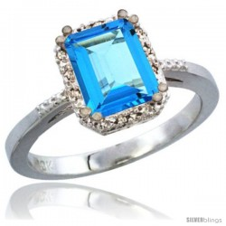 10K White Gold Natural Swiss Blue Topaz Ring Emerald-shape 8x6 Stone Diamond Accent
