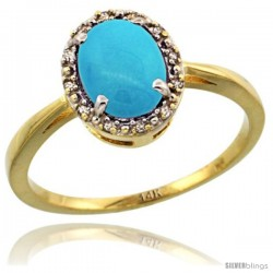 14k Yellow Gold Diamond Halo Turquoise Ring 1.2 ct Oval Stone 8x6 mm, 1/2 in wide