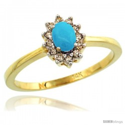 14k Yellow Gold Diamond Halo Turquoise Ring 0.25 ct Oval Stone 5x3 mm, 5/16 in wide