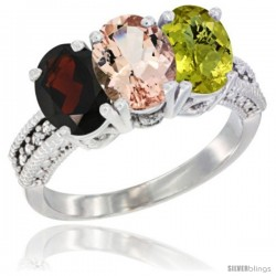 14K White Gold Natural Garnet, Morganite & Lemon Quartz Ring 3-Stone 7x5 mm Oval Diamond Accent
