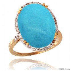 14k Yellow Gold Diamond Halo Large Turquoise Ring 10.3 ct Oval Stone 18x13 mm, 3/4 in wide
