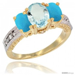 14k Yellow Gold Ladies Oval Natural Aquamarine 3-Stone Ring with Turquoise Sides Diamond Accent