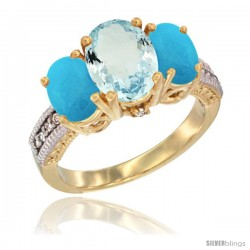 14K Yellow Gold Ladies 3-Stone Oval Natural Aquamarine Ring with Turquoise Sides Diamond Accent