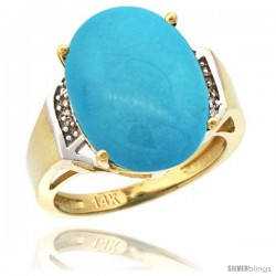 14k Yellow Gold Diamond Sleeping Beauty Turquoise Ring 9.7 ct Large Oval Stone 16x12 mm, 5/8 in wide