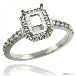 14k White Gold Semi Mount (for 7x5 Emerald Cut Stone) Engagement Ring w/ 0.21 Carat Brilliant Cut (H-I Color SI1 Clarity)