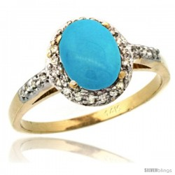 14k Yellow Gold Diamond Sleeping Beauty Turquoise Ring Oval Stone 8x6 mm 1.17 ct 3/8 in wide