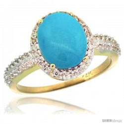 14k Yellow Gold Diamond Sleeping Beauty Turquoise Ring Oval Stone 10x8 mm 2.4 ct 1/2 in wide