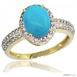 14k Yellow Gold Diamond Sleeping Beauty Turquoise Ring Oval Stone 9x7 mm 1.76 ct 1/2 in wide