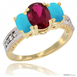 14k Yellow Gold Ladies Oval Natural Ruby 3-Stone Ring with Turquoise Sides Diamond Accent