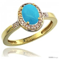 14k Yellow Gold Diamond Sleeping Beauty Turquoise Ring 1 ct 7x5 Stone 1/2 in wide