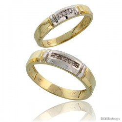 10k Yellow Gold Diamond Wedding Rings 2-Piece set for him 5.5 mm & Her 4 mm 0.05 cttw Brilliant Cut -Style Ljy023w2