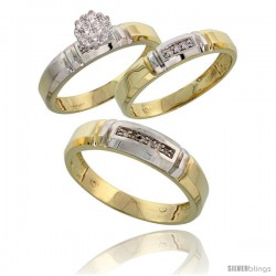 10k Yellow Gold Diamond Trio Engagement Wedding Ring 3-piece Set for Him & Her 4.5 mm & 4 mm wide 0.10 cttw -Style Ljy023w3