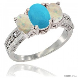 14k White Gold Ladies Oval Natural Turquoise 3-Stone Ring with Opal Sides Diamond Accent
