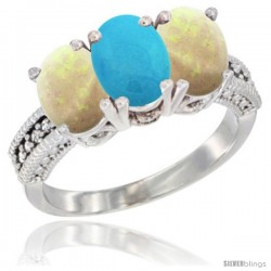 14K White Gold Natural Turquoise & Opal Sides Ring 3-Stone 7x5 mm Oval Diamond Accent