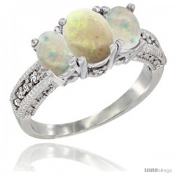 14k White Gold Ladies Oval Natural Opal 3-Stone Ring Diamond Accent