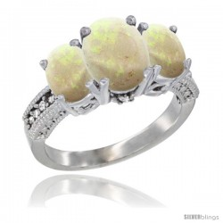 14K White Gold Ladies 3-Stone Oval Natural Opal Ring Diamond Accent