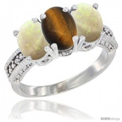 14K White Gold Natural Tiger Eye & Opal Sides Ring 3-Stone 7x5 mm Oval Diamond Accent