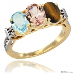 10K Yellow Gold Natural Aquamarine, Morganite & Tiger Eye Ring 3-Stone Oval 7x5 mm Diamond Accent