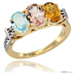 10K Yellow Gold Natural Aquamarine, Morganite & Whisky Quartz Ring 3-Stone Oval 7x5 mm Diamond Accent