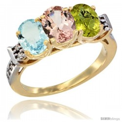 10K Yellow Gold Natural Aquamarine, Morganite & Lemon Quartz Ring 3-Stone Oval 7x5 mm Diamond Accent