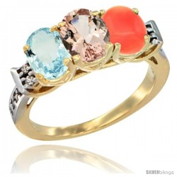 10K Yellow Gold Natural Aquamarine, Morganite & Coral Ring 3-Stone Oval 7x5 mm Diamond Accent