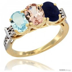 10K Yellow Gold Natural Aquamarine, Morganite & Lapis Ring 3-Stone Oval 7x5 mm Diamond Accent