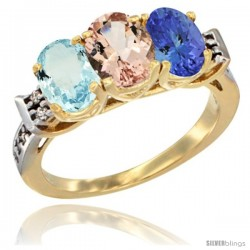 10K Yellow Gold Natural Aquamarine, Morganite & Tanzanite Ring 3-Stone Oval 7x5 mm Diamond Accent