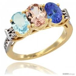 10K Yellow Gold Natural Aquamarine, Morganite & Tanzanite Ring 3-Stone Oval 7x5 mm Diamond Accent