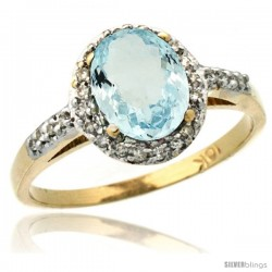 10k Yellow Gold Diamond Aquamarine Ring Oval Stone 8x6 mm 1.17 ct 3/8 in wide