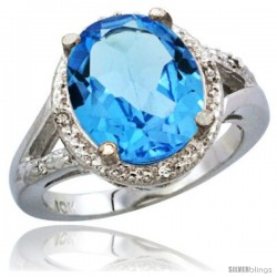 10K White Gold Natural Swiss Blue Topaz Ring Oval 12x10 Stone Diamond Accent