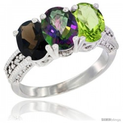 14K White Gold Natural Smoky Topaz, Mystic Topaz & Peridot Ring 3-Stone 7x5 mm Oval Diamond Accent