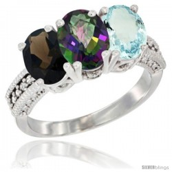 14K White Gold Natural Smoky Topaz, Mystic Topaz & Aquamarine Ring 3-Stone 7x5 mm Oval Diamond Accent