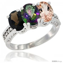 14K White Gold Natural Smoky Topaz, Mystic Topaz & Morganite Ring 3-Stone 7x5 mm Oval Diamond Accent