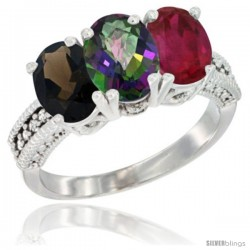 14K White Gold Natural Smoky Topaz, Mystic Topaz & Ruby Ring 3-Stone 7x5 mm Oval Diamond Accent