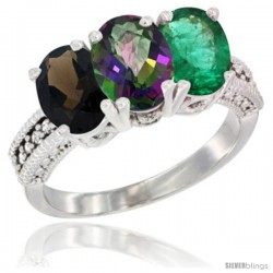 14K White Gold Natural Smoky Topaz, Mystic Topaz & Emerald Ring 3-Stone 7x5 mm Oval Diamond Accent