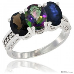 14K White Gold Natural Smoky Topaz, Mystic Topaz & Blue Sapphire Ring 3-Stone 7x5 mm Oval Diamond Accent