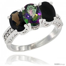 14K White Gold Natural Smoky Topaz, Mystic Topaz & Black Onyx Ring 3-Stone 7x5 mm Oval Diamond Accent