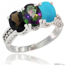 14K White Gold Natural Smoky Topaz, Mystic Topaz & Turquoise Ring 3-Stone 7x5 mm Oval Diamond Accent