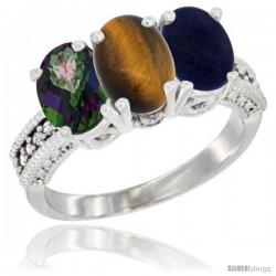 10K White Gold Natural Mystic Topaz, Tiger Eye & Lapis Ring 3-Stone Oval 7x5 mm Diamond Accent