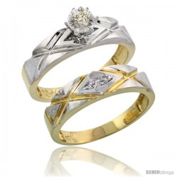 10k Yellow Gold Ladies' 2-Piece Diamond Engagement Wedding Ring Set, 3/16 in wide -Style Ljy101e2