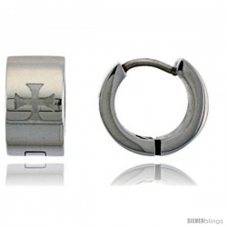 Stainless Steel Huggie Earrings Maltese Cross 1/2 in Diameter