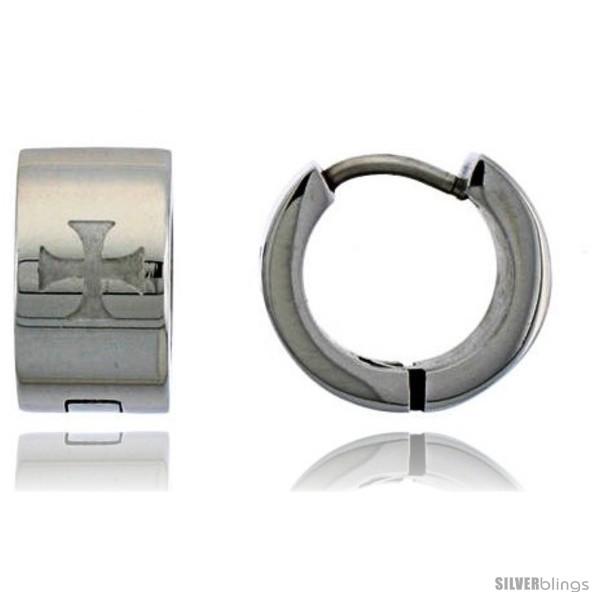 https://www.silverblings.com/582-thickbox_default/stainless-steel-huggie-earrings-maltese-cross-1-2-in-diameter.jpg