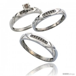 Sterling Silver 3-Piece Trio His (4mm) & Hers (3.5mm) Diamond Wedding Band Set, w/ 0.13 Carat Brilliant Cut Diamonds