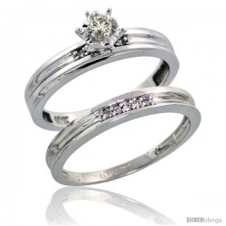 Sterling Silver 2-Piece Diamond Engagement Ring Set, w/ 0.07 Carat Brilliant Cut Diamonds, 1/8 in. (3mm) wide