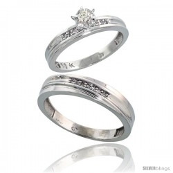 Sterling Silver 2-Piece Diamond Ring Set ( Engagement Ring & Man's Wedding Band ), w/ 0.09 Carat Brilliant Cut Diamonds, ( 3mm