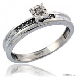 Sterling Silver Diamond Engagement Ring, w/ 0.05 Carat Brilliant Cut Diamonds, 1/8 in. (3mm) wide