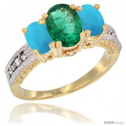 14k Yellow Gold Ladies Oval Natural Emerald 3-Stone Ring with Turquoise Sides Diamond Accent